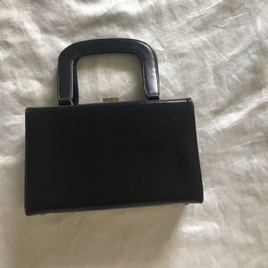 Hilco vintage handbag box style black leather